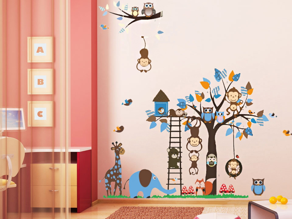 Kids Room Wall Design white cloud blue wallpaper for kids room designs New Design Forest Animal Wall Stickers Tree Wall Stickers For Kids Room 1215 Children Deoration Wall
