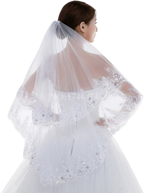 2 Layers Lace Silver Lined Beaded Edge Fingertip Length Bridal Wedding Veil with Comb