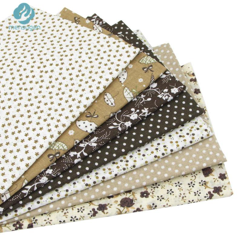 50cm*50cm 7pcs Coffee 100% Cotton Fabric for DIY Sewing Patchwork Quilting Tissue Kids Bedding Fabric Tilda Doll Cloth Textiles