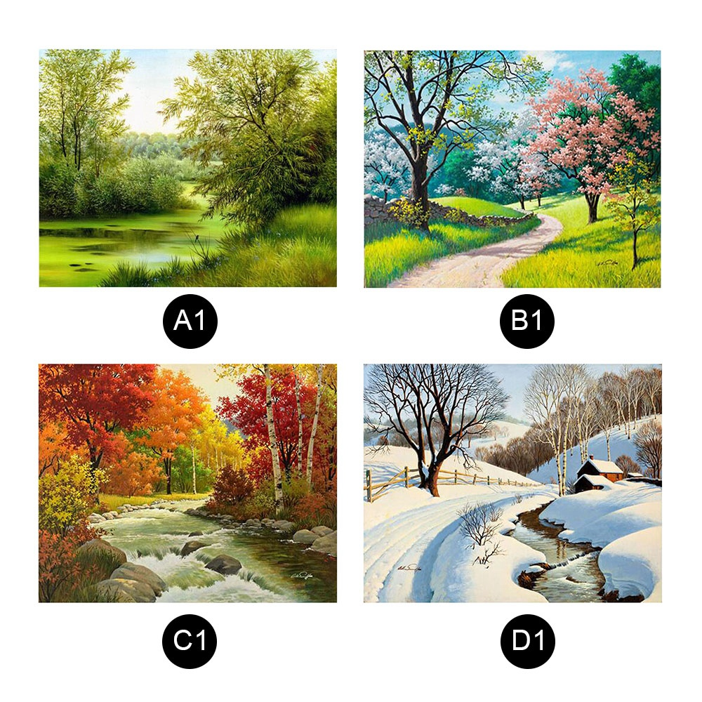 Four Seasons Landscape Diamond Picture Material for Rhinestones and Canvas  Home Bedroom Living Room Wall Decor Background-in Diamond Painting Cross  Stitch ... - Four Seasons Landscape Diamond Picture Material For Rhinestones And