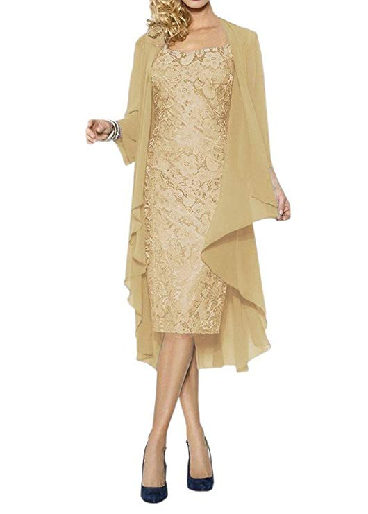 Knee-Length Mother of The Bride Dresses With Chiffon Shawl Formal Dresses Custom Plus Size Mother Of The Bride