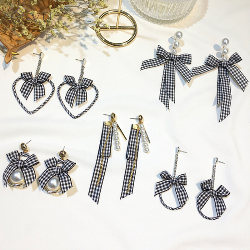 US $2.17 14% OFF|AOMU Elegant Black and White Plaid Ribbon Bowknot Long Tassel Dangle Drop Earring Big Metal Heart Pearl Cloth Girls Ear Jewelry-in Drop Earrings from Jewelry & Accessories on Aliexpress.com | Alibaba Group