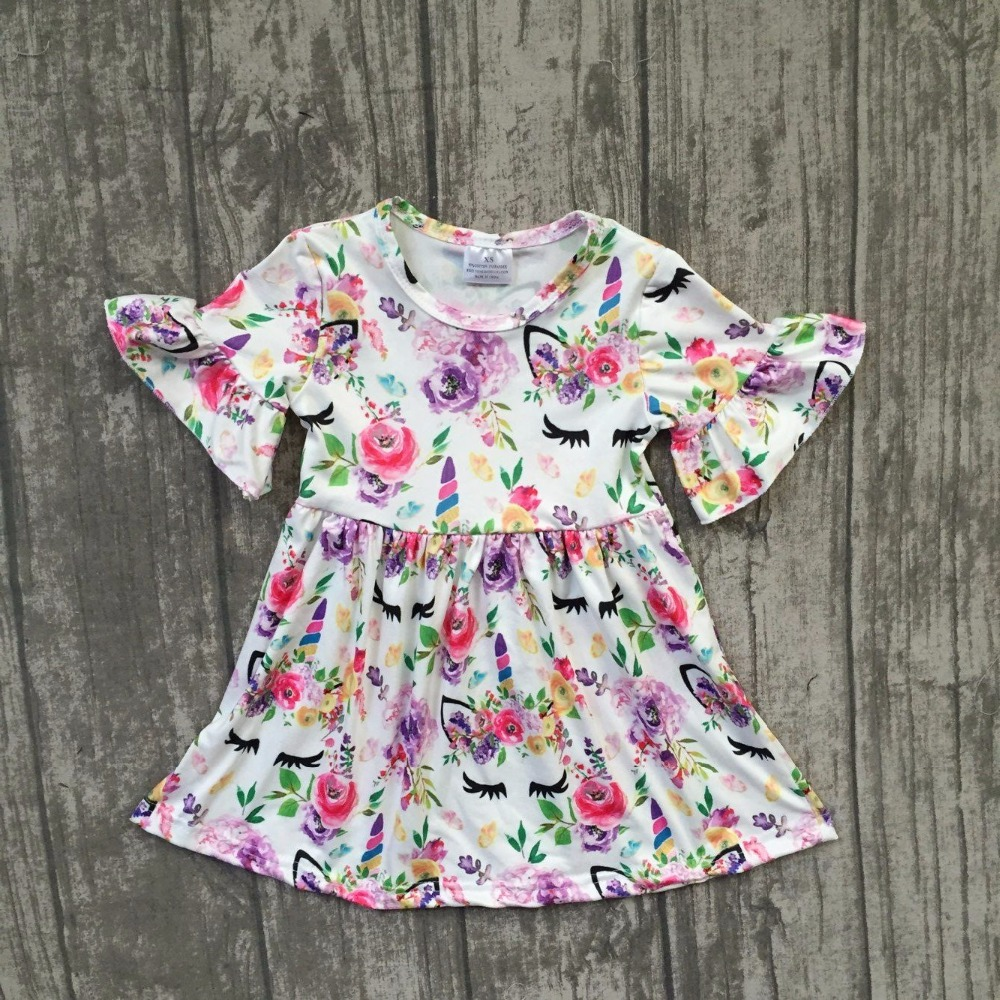 2018 new Summer/Spring dress flower unicorn dress super cute colorful dress quantity limited hot sell girl clothing available