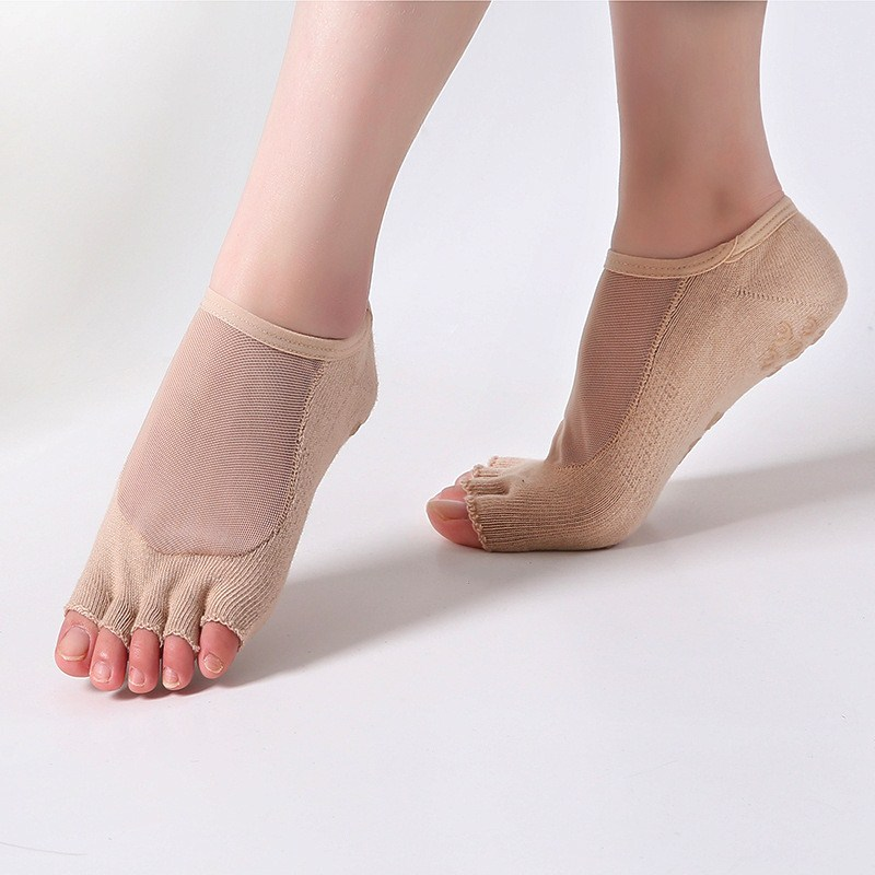 Women Yoga Five Toe Anti-Slip Ankle Grip Socks Dots Pilates Transparent Silk Breathable Fitness Gym Socks Ladies Sports Socks