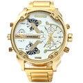 SHIWEIB A3137 Luxury Brand DZ Men Alloy Metal Watch Big Size Army Dual Time Male Casual Military Wristwatch Relogio Masculino