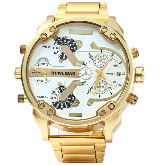 SHIWEIB A3137 Marca DZ Hombres Metal de la Aleación de Reloj de Gran Tamaño de Lujo Dual Time Ejército Masculino Casual Reloj Militar Relogio masculino
