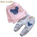 Líder urso Da Menina Do Bebê Roupas de Outono 2016 Do Bebê Conjuntos de Roupas de Impressão Dos Desenhos Animados Com Capuz + Calça Casual 2 Pcs para o Bebê roupas
