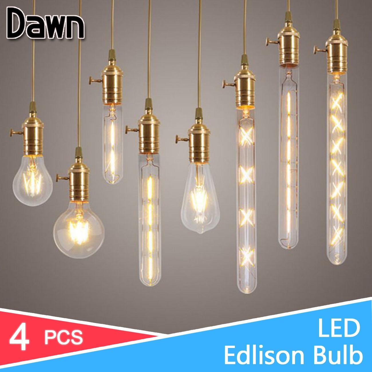 4pcs LED Lamp 220V E27 E14 LED Filament Light Lamp 2W 4W 6W 8W Retro Edison Bulb Candle Glass Led Specialty Decorative Lights