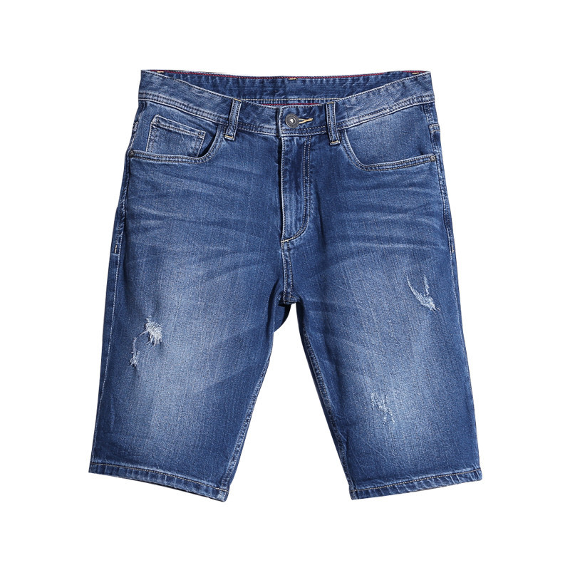 Vintage Men Short Jeans Casual Summer Washed Hole Denim Male Shorts Fashion Leisure Straight Denim Shorts for Man 2017 Hot Trend