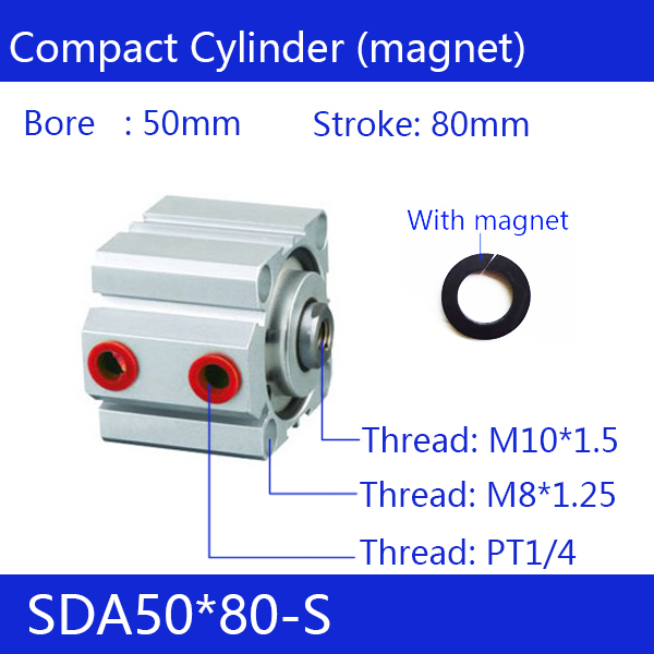SDA50*80-S, 50mm Bore 80mm Stroke Compact Air Cylinders SDA50X80-S Dual Action Air Pneumatic CylinderSDA50*80-S, 50mm Bore 80mm Stroke Compact Air Cylinders SDA50X80-S Dual Action Air Pneumatic Cylinder