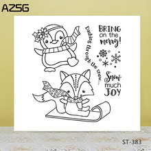 AZSG Cartoon Lovely Fox Penguin Clear Stamps/Seals For DIY Scrapbooking/Card Making/Album Decorative Silicone Stamp Crafts