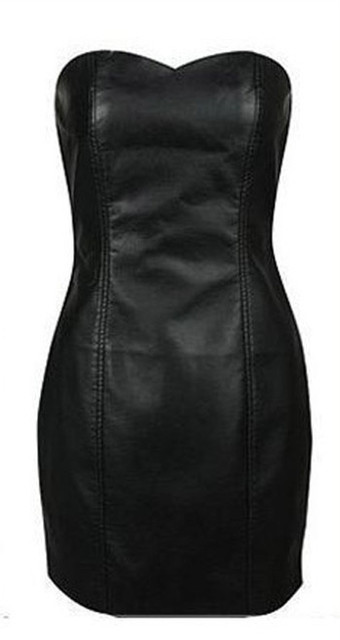 Sexy Black Faux Leather Pencil Bodycon Boob Prom Tube Strapless Mini Dresses 6XL Plus Size Womens Shapewear