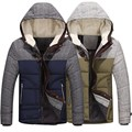 2017 Mens Fashion Winter Thick Padded Jacket Hooded Quilted Down Coat Zipper Overcoat Front Zip Long Sleeves Outwears