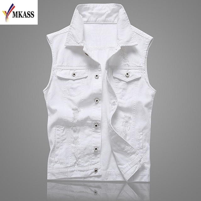 0bdbb96b27d MKASS Vintage Design Men s Denim Vest Male White Color Slim Fit Sleeveless  Jackets Men Hole Jeans