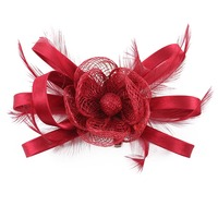 1PC Stylish Women Brides Feather Floral Fascinator Headpiece Wedding Cocktail Accessory Hair Clip Hairpin