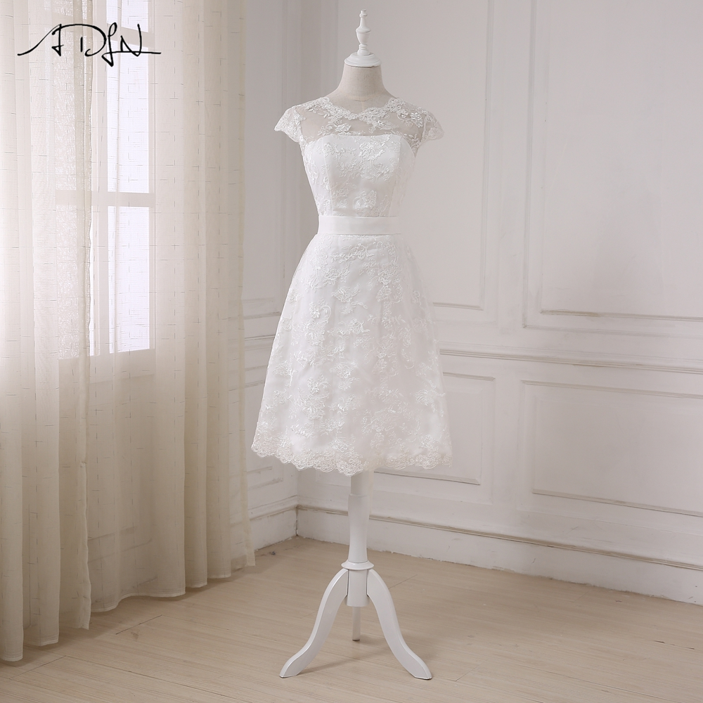 ADLN 2019 Cheap Short Wedding Dresses A-line Lace Little White Dress Bridal Gowns Sleeveless Scoop Neck Bow Robe De Mariage