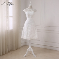 ADLN 2017 New Short Lace Wedding Dresses Short Sleeve A Line Cheap Bridal Gowns Vestido De