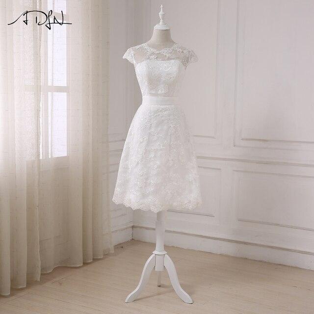 26deca0ea0f ADLN 2019 pas cher robes De mariée courtes a-ligne dentelle petite Robe  blanche robes