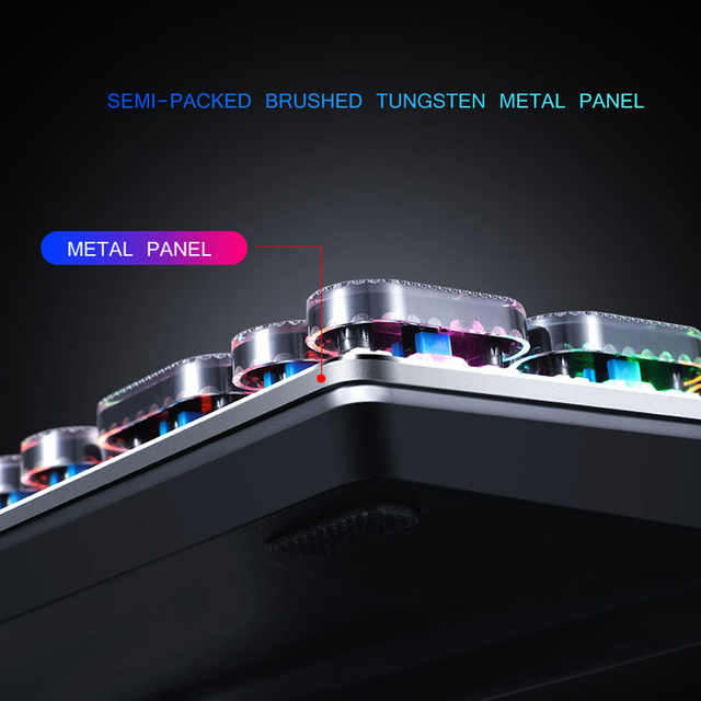 Gaming Mechanical Keyboard USB Wired Anti-ghosting Metal Panel Colorful Backlight Keyboard Crystal Plating Keys Russian Sticker 6