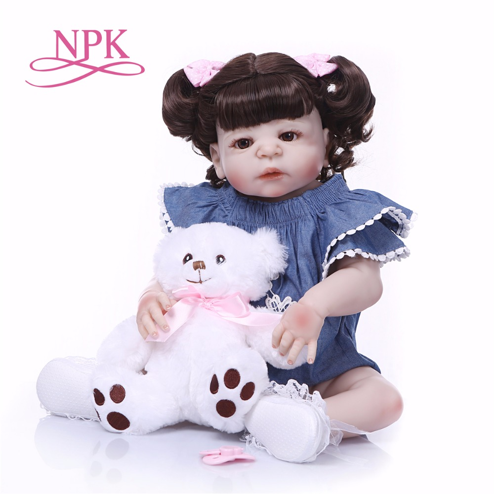 Bebes reborn NPK whole Silicone Baby dolls for sale 23'' Newborn Baby real doll toys for children birthday gift boneca reborn