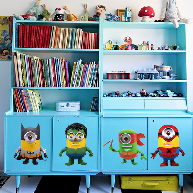 1pcs Superhero Minion Wall Sticker Living Room Bathroom Kids Bedroom ...