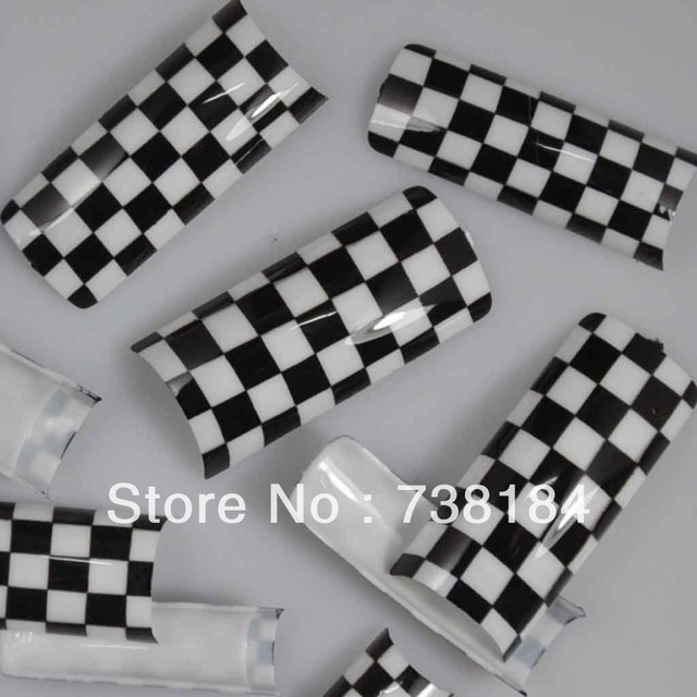 100pcspack Beauty Black White Checkered Design Acrylic Tip False