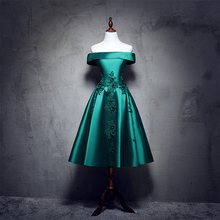 In Stock Green Taffeta Off the Shoulder Tea Length  Evening Dress Lace Up Appliques Dresses for Women Ball Gown vestidos 1005C