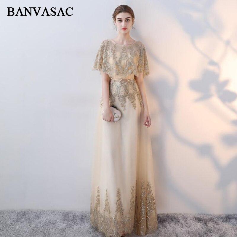 BANVASAC 2018 O cou paillettes feuille ceinture une ligne longues robes de soirée Vintage dentelle Cape partie demi manches robes de bal