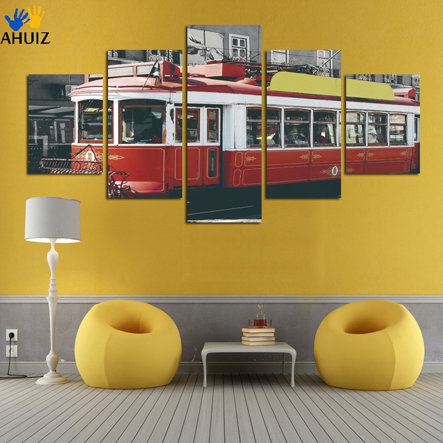 Free shipping Modern HD Red Train Wall Picture Painting On Canvas ...