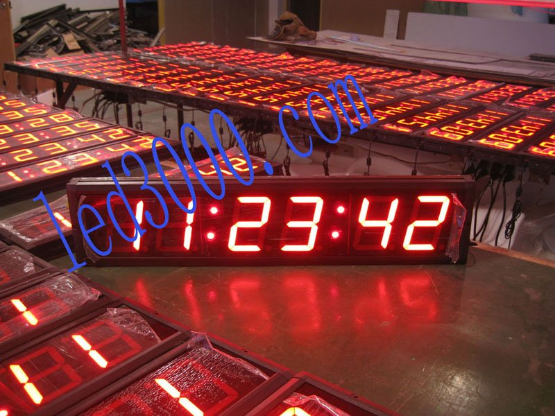 4inch 6digits  red color led clock with GPS(HIT6-4R)