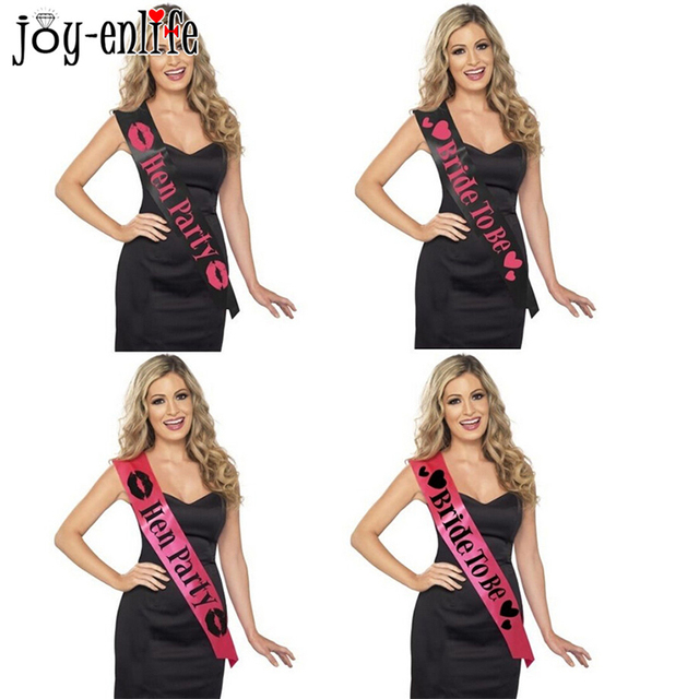 1pcs Pink Black Bachelorette Party Accessories Hen Night Stain Sashes Bride To Be