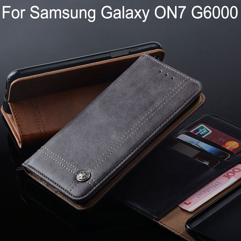 for samsung galaxy on7 case Luxury Leather Flip cover Stand Card Slot Without magnets coque for samsung galaxy on7 G6000 funda