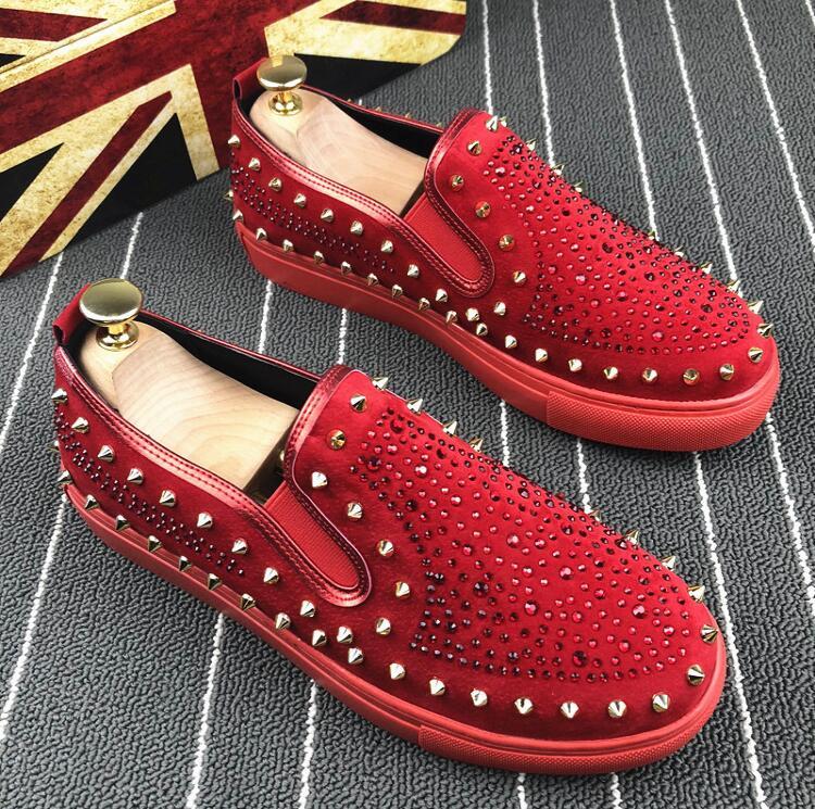 De Rivets Rouge chaussures Spike rouge Appartements Mode 2019 Mocasines Noir Crin Chaussures Zapatos Rivet Mocassins clouté Noir Hombre Designer Hommes EAvnq