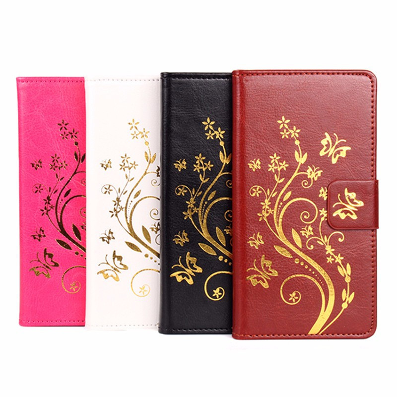 For iphone7 Gold Butterfly Embossed PU Leather Flip Stand Case For iphone 7 Case With Wallet Slots