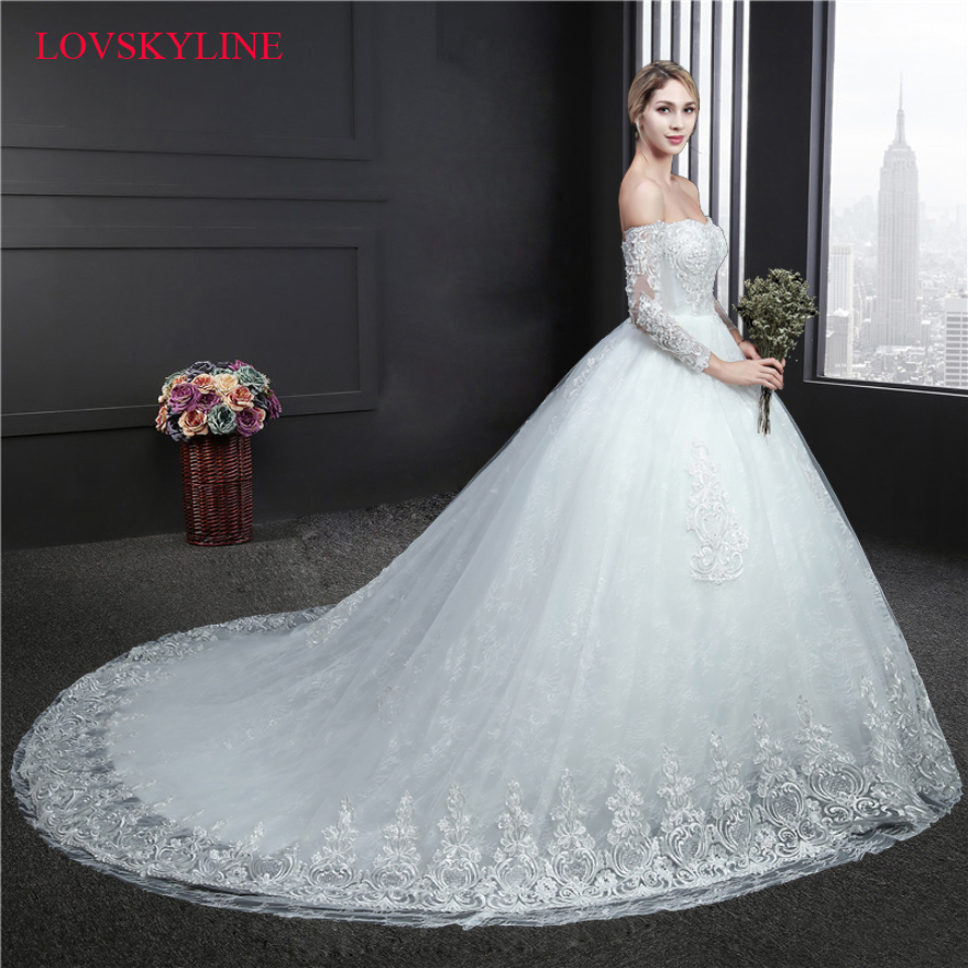 Robe De Soriee New Simple Wedding Dress Full Sleeve Lace: Robe De Soiree 2018 New Embroidery Sequined Lace Wedding