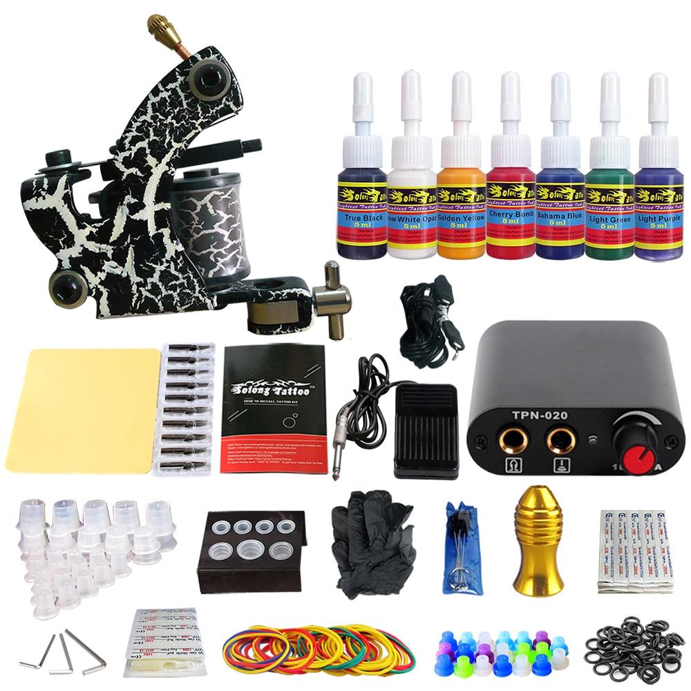 Stigma Tattoo Functional Complete Machine Kit Power Supply Clip Cord 7 color ink set TK105-76Stigma Tattoo Functional Complete Machine Kit Power Supply Clip Cord 7 color ink set TK105-76
