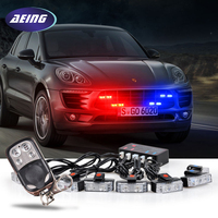 AEING 8 x 2 wireless control LED Flash Emergency Strobe Car Grill Light Ultra Bright plice light Red Blue Amber White