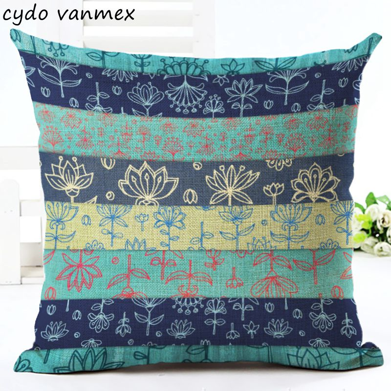 bright colorful cushion cover striped lounge couch chaise throw pillow case floral ethnic almofada 45cm ombre cojines