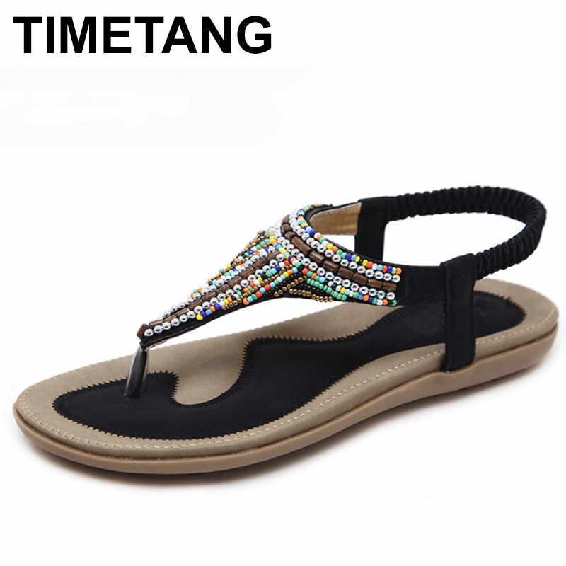 1d95e8296d3e6b TIMETANG Women Bohemia Ethnic Gypsy String Bead Flat Sandals Flip Flops  Woman Casual Summer Beach Shoes