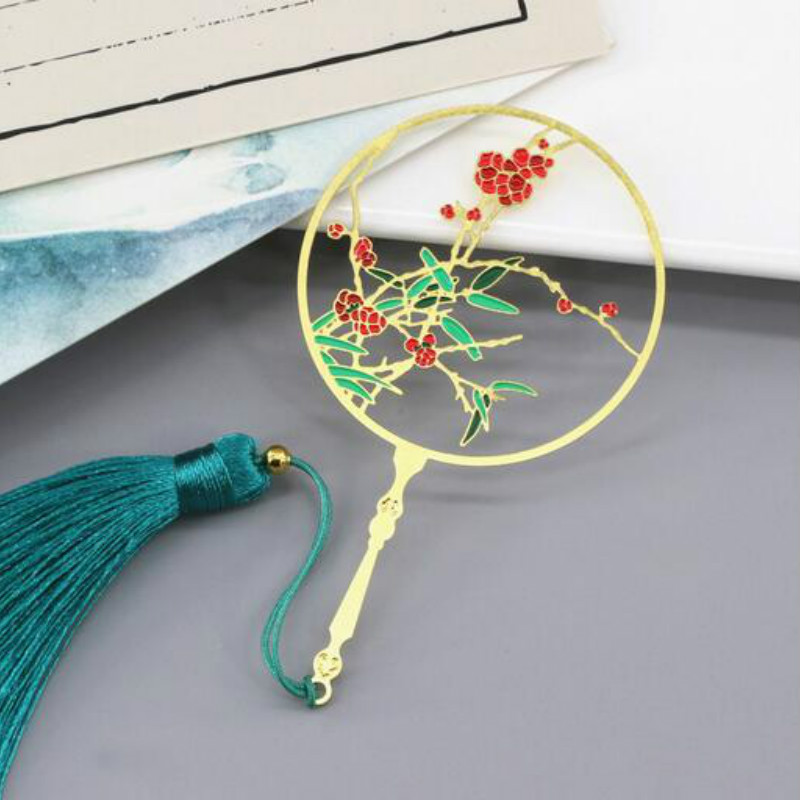 Lotus Mandarin Duck Chinese Style Gift Antique Hollow Fan Fringed Art Bookmark Gift Student Woman Gift