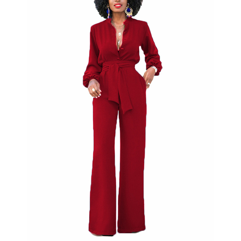 Bow tie formal wrap   jumpsuit   and romper Solid   jumpsuit   for women 2018 Elegant office ladies wear to work   jumpsuits   overalls