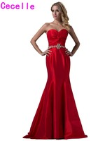 2019 New Real Red Long Mermaid Prom Evening Dresses Sweetheart Ruching Taffeta Elegant Classic Formal Evening Party Gowns Sale
