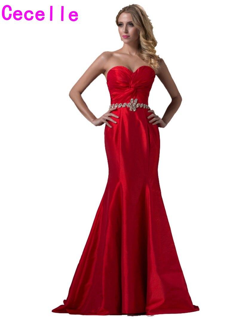 2019 nouveau réel rouge longue sirène bal robes de soirée chérie Ruching taffetas élégant classique formel soirée robes vente