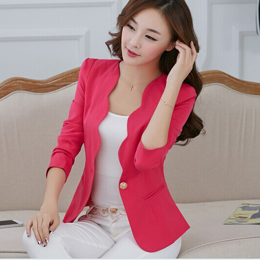 New Fashion 2017 Spring autumn Women Suit Jacket Coat Solid color slim OL ladies work wear blazer feminino chaquetas mujer J1421