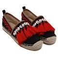 Красный Кисточкой Плоские Ботинки Женщин Бренд Эспадрильи Осень/Весна Женщины Поскользнуться На Обувь Мода Холст Эспадрильи Женщин Ленивый Обувь