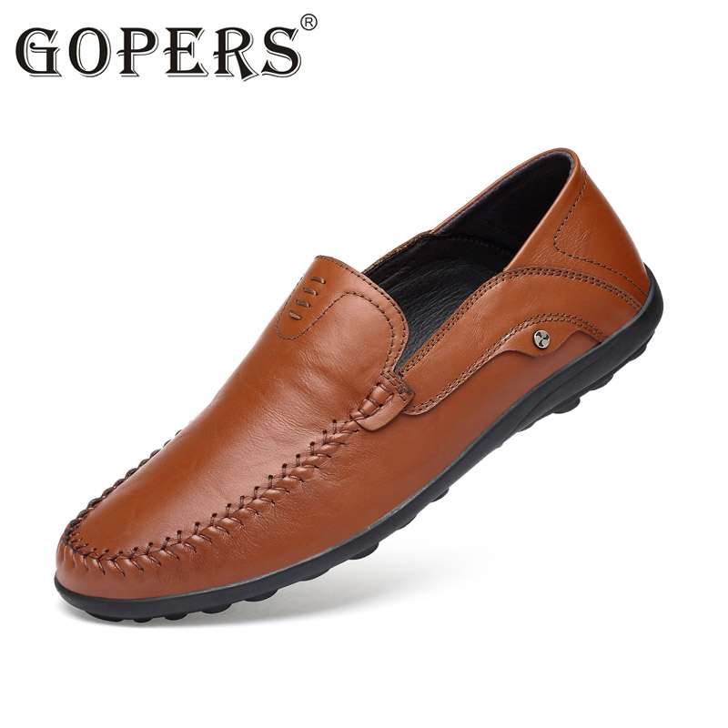 2017 Big Size 36~46 High Quality Genuine Leather Men Shoes Soft Moccasins Loafers Fashion Brand Men Flats Comfy Driving Shoes size 36 46 men