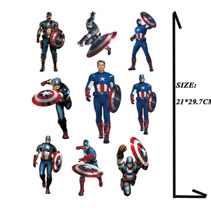 Hot Captain America A4 Size Waterproof Stickers Phone IPad Tablet Laptop Luggage Skateboard Motorcycle Auto Car Styling Decal