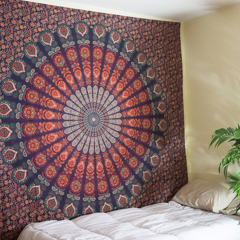 Cilected Peacock Mandala Wall Hanging Tapestry Indian