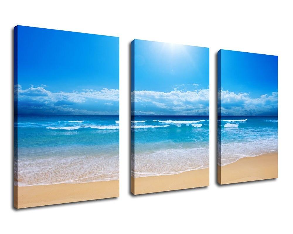 Настенные принты для художественных холстов Sunshine Sea Beach Печать на холсте синий пляж холст с морским пейзажем Art Чирок Susnet Ocean Art Прямая достав