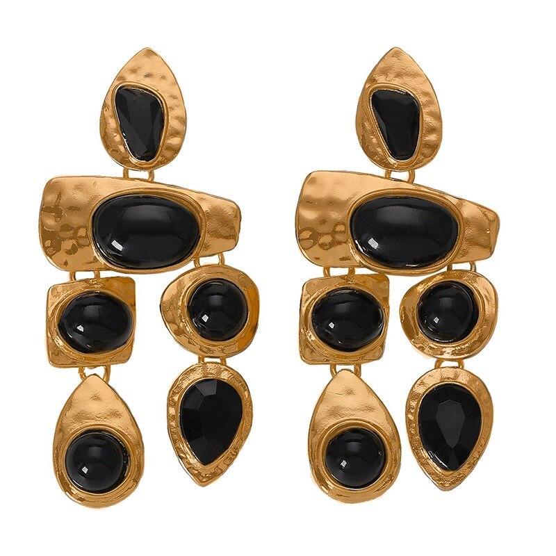 Fashion 2019 Boho Golden Big Dangle Earrings Women Crystal Bead Vintage Geometric Heart Punk Statement Drop Earring Jewelry